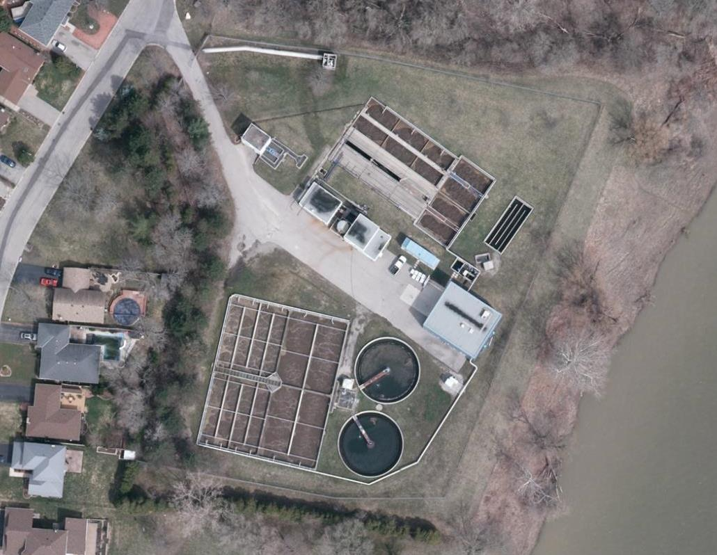Aerial view of Paris Water Pollution Control Plant at 120 Race Street