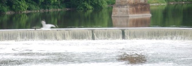 Water going over a dam